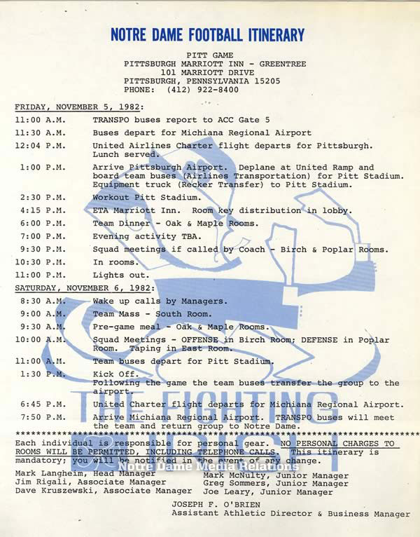 003: The team itinerary for Notre Dame's 1982 Pittsburgh trip