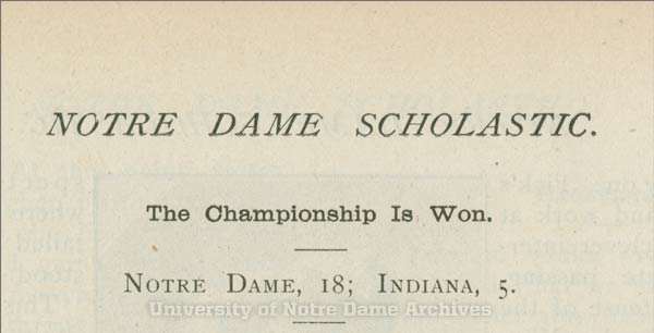 Scholastic headline declared Notre Dame had won the state championship