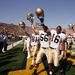 The #20 Fighting Irish celebrate a 17-10 victory over #3 Michigan on September 10, 2005 at Michigan Stadium.