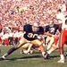 Reggie Ho kicks against the Hurricanes at Notre Dame Stadium.