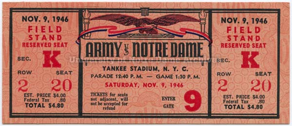 1946 Army game ticket