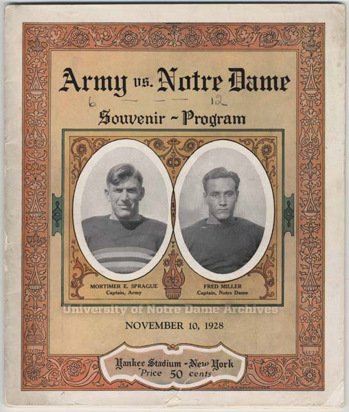 1928 Army Notre Dame game program