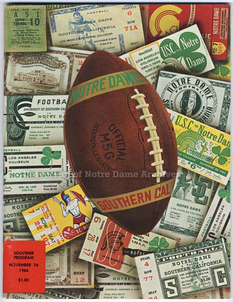 1966 Notre Dame USC program cover