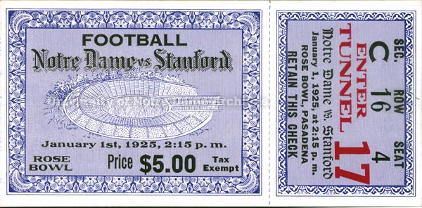 1925 Rose Bowl ticket