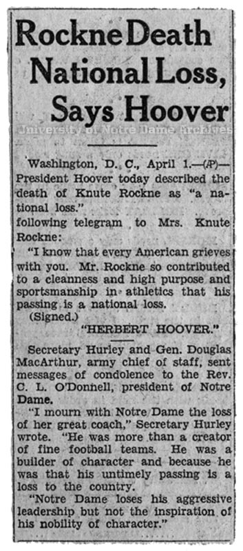 Rockne national loss