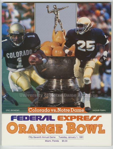 '91 Orange Bowl program cover