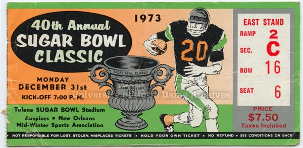 1973 Sugar Bowl ticket
